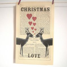 Antique Paper Upcycled 'Christmas Deer' Print, Medium