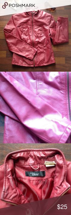 Jacket Ute burgundy jacket good condition no rips or tare has small flaw see pic 2 also has discoloration on collar by zipper see pic 3 tag reads special leather dry clean only Jackets & Coats