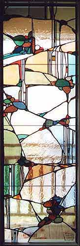 """Kurki after Mackintosh"" glass panel by Kim Kurki of Osler-Kurki Studio, Pennsylvania, PA"