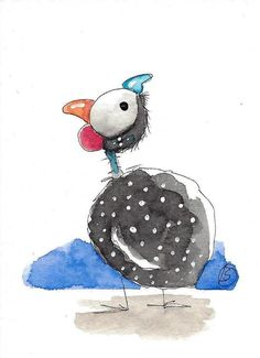 ACEO Original watercolor art painting Lucia Stewart whimsical animal guinea fowl…