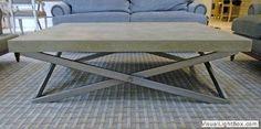 Brandner concrete table w/ metal base. / www.bontool.com Concrete Table, Concrete Furniture, Fine Art Gallery, Vanity Bench, Base, Flooring, Metal, Home Decor