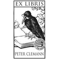 Hier finden Sie ein typisches Ex Libris mit dem Symbol eines Raben vor einem Buch aus dem Hause EXLIBRIS-INSEL. - Here is a typical Ex Libris with the symbol of a raven in front of a book.