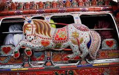 """mehreenkasana: """" """" Pakistani Truck Art Many trucks and buses in Pakistan are highly customized and decorated by their owners. These adorned vehicles are considered as moving art, or jingle art. Truck Art Pakistan, Vauxhall Motors, Mini Bus, Sand Crafts, Gypsy Wagon, Garbage Truck, Art Cars, Beautiful World, First World"""
