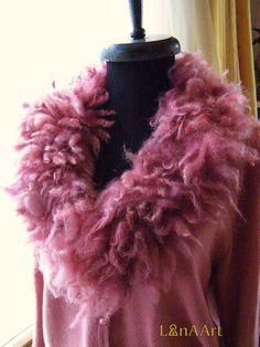 WILD PINK FLEECE artistic felt scarf-collar (neck-piece) of natural wool locks, 90x10-15 cm appr. by Svetlana Kostova - LanAArt