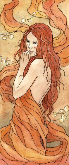 Elements - Fire by liga-marta.deviantart.com. This illustration makes me miss my long hair!