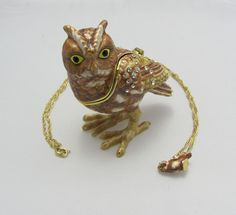 New Trinket Box Pewter Painted Crystals Adorable Owl Bird Animal