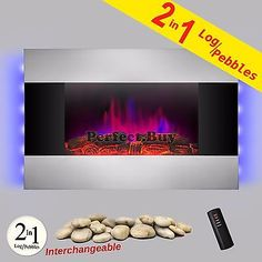 New Wall Mounted Back Light Electric Fireplace Control Remote Heater Adjustable
