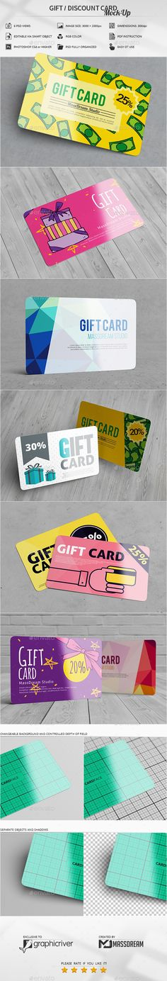 Gift / Discount Card #Mock-Up - #Business #Cards Print Download here: https://graphicriver.net/item/gift-discount-card-mockup/20302932?ref=alena994