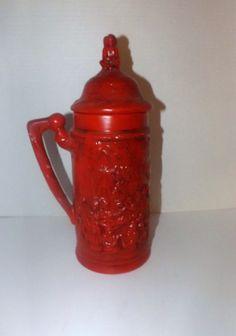 Vintage Chalkware Stein Very Large Red by JandDsAtticTreasures, $22.00