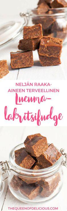 Lakritsifudge lucumalla | Taatelifudge | Vegaaninen | Terveellinen resepti | Fudge Cereal, Baking, Breakfast, Food, Queen, Eggs, Morning Coffee, Bakken, Essen