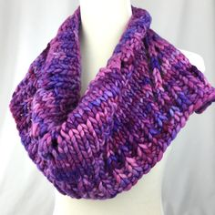 Cowl // bandana // Purple // pink // lavender // Merino wool // handknit // neckwarmer by OrangeSmoothieKnits on Etsy