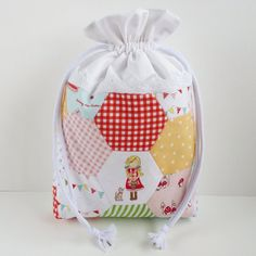 SMALL Hexies Patchwork Drawstring Bag  'Little by MadeByRachel
