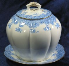 Royal Worcester Antique Melon Biscuit Jar w Underplate Free Shipping USA | eBay