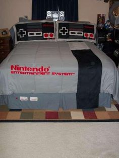 "NES Bedding Set ""Nintendo bed set for our new condo. Becky says no, ""Merry Christmas Becky! My New Room, My Room, Deco Gamer, New Condo, Geek Chic, Cool Stuff, Bed Spreads, Bedding Sets, Girl Bedding"