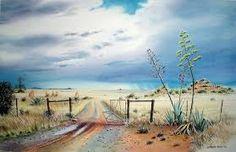 Karoo landscape with gate Watercolor Landscape, Landscape Art, Landscape Paintings, Landscape Photography, Art Photography, Farm Paintings, African Art Paintings, South Africa Art, Stella Art