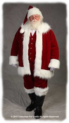 a7546b6432028 Santa Costumes, Christmas Gifts & Santa Suits - Deluxe Traditional Suit,  Vest & NAUGAHYDE Boots