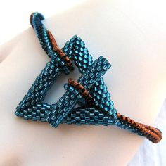 Zircon Blue and Copper Simplicity  A Beadwoven by SandFibers, $32.00