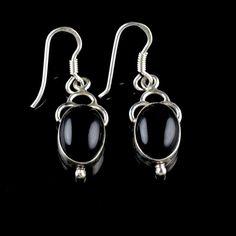925 Sterling Silver Natural Black Onyx Gemstone Handmade Earrings Jewelry #Handmade #DropDangle