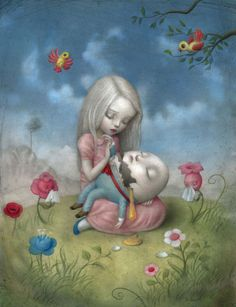 Nicoletta Ceccoli — Alice and Humpty Dumpty Mark Ryden, Art And Illustration, Fantasy Kunst, Fantasy Art, Tom Bagshaw, Arte Lowbrow, Chesire Cat, Art Beat, Humpty Dumpty