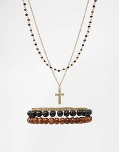 ASOS Beaded Necklace And Bracelet Pack With Cross In Gold