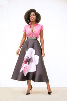 Style Pantry | Short Sleeve Button Down + Hibiscus Print Mid Skirt