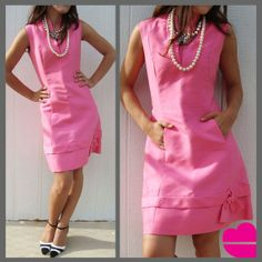 Vintage 60s PINK SHIFT DRESS pockets bow mod M L by KnowItAllGrrrl, $120.00