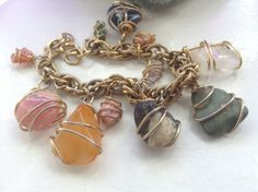 Gemstone Charm Bracelet  Vintage 1970s Semi Precious 11 Polished Stone Nuggets Wire Wrapped Dangle Gold Chain multicolored on Etsy, $25.00