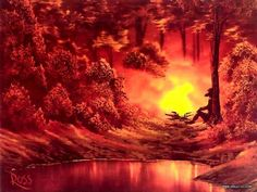 Peaceful Landscape Paintings by Bob Ross  - Bob Ross Paintings : Camp Fire  13