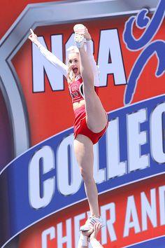 NC State Cheerleaders, cheerleading, stunt - IMG_0630 copy (despeckle) by stuckintrffc, via Flickr #cheer