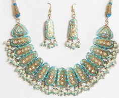 White Stone Studded Blue Meenakari Necklace with Earrings (Lac and Beads))