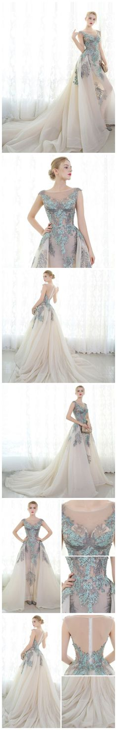 CHIC A-LINE BATEAU ORGANZA APPLIQUE MODEST PROM DRESS EVENING DRESS AM416