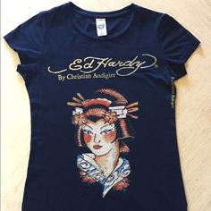 Ed Hardy Geisha Rhinestone Top Women's Black Ed Hardy Geisha Tee. Only worn a couple times. Does have a couple small holes. (Shown) Ed Hardy Tops Tees - Short Sleeve