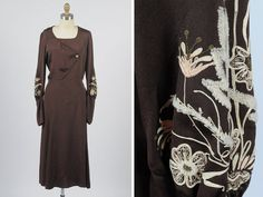 1930s embroidered dress/ medium by shopKLAD on Etsy