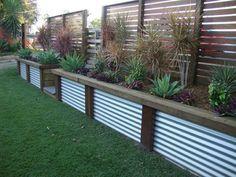 Corrugated Iron Fence Designs #8 - Corrugated Retaining Wall Ideas