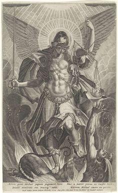 Aartsengel Michaël vertrapt de duivel, Raphaël Sadeler (II), Rudolf II van Habsburg (Duits keizer), Clemens VIII, 1604