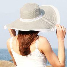 Gray wide brim sun hats for women floppy straw hats summer beach wear