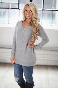 Comfy Cozy Sweater - Heather Grey