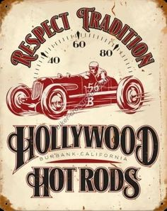 Hollywood Hot Rods Speedometer Metal Sign