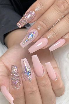 Perfect Summer Nails Art Designs 2019 letmebeauty net is part of Pretty nails Pink Peaches - Pretty nails Pink Peaches Bling Acrylic Nails, Summer Acrylic Nails, Glam Nails, Best Acrylic Nails, Rhinestone Nails, Cute Nails, Summer Nails, Bling Nail Art, Pink Bling Nails