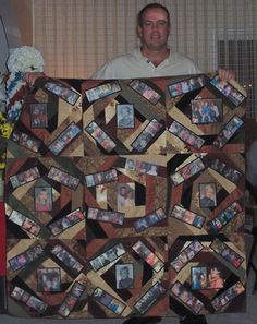 memory photo quilt | This is one of four family memory quilts (crazy quilt style) I made in ...