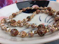 Vintage Cloisonne Bead Necklace & Heart Earrings by WerdBird
