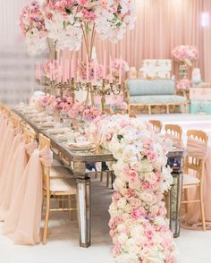 Glamorous Rose Gold Wedding Decor Ideas ★ rose gold wedding décor golden chairs mirror table flowers and candles on the table luna de mare photography Gold Wedding Decorations, Reception Decorations, Wedding Themes, Wedding Centerpieces, Wedding Designs, Wedding Table, Wedding Colors, Wedding Events, Wedding Flowers