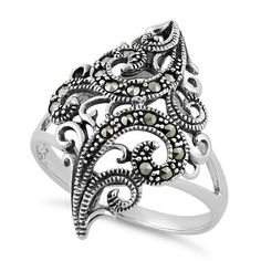 Sterling Silver Swirl Marcasite Ring for Sale - Wholesale Sparkle offers top quality Sterling 925 Silver Rings for men & women at wholesale Prices! Silver Earrings, Silver Jewelry, Diamond Jewelry, Fine Jewelry, Types Of Wedding Rings, Silver Rings Online, Marcasite Jewelry, Dreamland Jewelry, Fantasy Jewelry