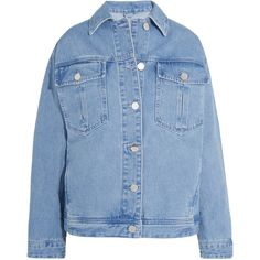 Topshop Unique Rushmore oversized beaded denim jacket ($275) ❤ liked on Polyvore featuring outerwear, jackets, topshop, floral jean jacket, floral jacket, blue jean jacket, light blue jacket and floral print denim jacket