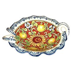 CERAMICHE D'ARTE PARRINI - Italian Ceramic Art Pottery Serving Bowl Centerpieces Hand Painted Decorative Lemons Made in ITALY Tuscan. Ceramic Bowl for any use . Decorations Leaves of flowers , sunflower and lemons on a red background old scratched, framed side curls of blue-white --Net weight Kg.1,000, Dimensions: (11,80 Inch ) x (10,23 Inch) --All our products are lead-free and can be used for foods, can go in the dishwasher and in the microwave-You can ask any other customization, buy...
