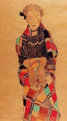 Egon Schiele, Girl In Black Pinafore Wrapped In Plaid Blanket