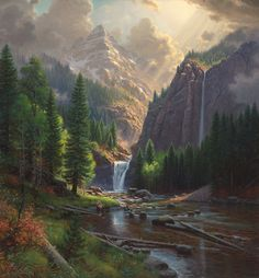mountain scene by Mark Keathley Art Et Nature, Image Nature, Waterfall Paintings, Scenery Paintings, Pictures To Paint, Nature Pictures, Beautiful Paintings, Beautiful Landscapes, Landscape Art