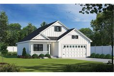 The adorable home's 1-story floor plan has 1387 square feet of heated and cooled living space and includes 2 bedrooms. Modern Farmhouse Plans, Farmhouse Design, Farmhouse Style, Bungalow House Plans, Small House Plans, Building Department, Facade House, Floor Plans, New Homes