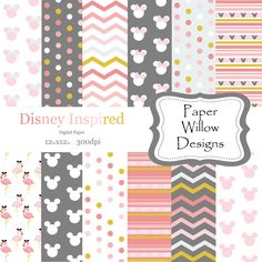 Disney Inspired-(12)-12x12-300dpi-Instant Download-Pink-Gray-Grey-Mickey-Minnie-Disney-Gold-Stripe-Chevron-Polka Dots by PaperWillowDesigns on Etsy