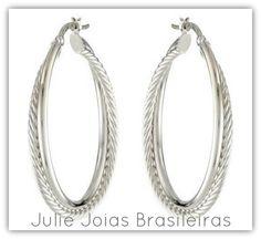 Brincos argola em prata 950(950 silver hoops earrings)